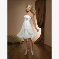 2012 Short Beach Wedding Dresses/ Custom Chiffon Reception Bridal Dresses