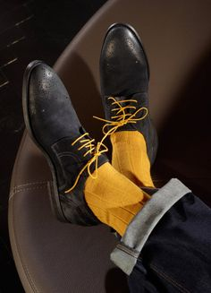Yellow laces... and those early-80s jeans turn-ups again... Falke Men's Legwear Autumn/Winter 2012...