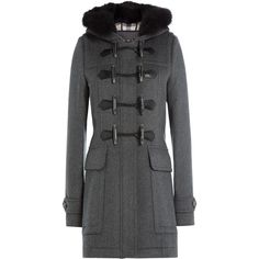 Burberry Brit Wool Duffle Coat ($1,350) ❤ liked on Polyvore featuring outerwear, coats, jackets, grey, toggle coat, hooded toggle coat, slim coat, gray coat and wool duffle coat