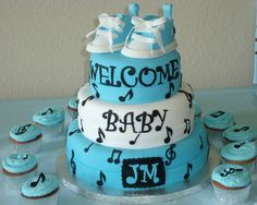 Music+baby+shower+cake | music notes, baby converse blue and white — Baby Shower