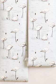 Anthropologie Flamingo Wallpaper. I love this for a little girl's room.  Great backdrop to a dreamy space.  One wall, a little nook, closet or the whole space.  Adds a touch of sophistication.