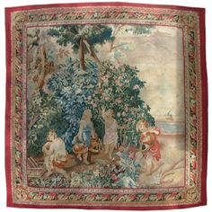 19th Century Aubusson style tapestry, Adam and Eve, Cain and Abel outside the Garden of Eden.