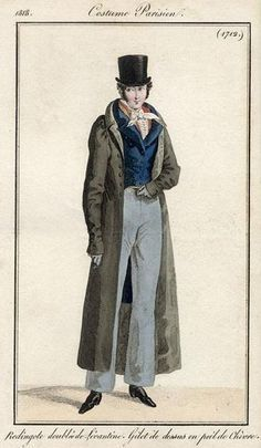Costume Parisien 1818. Regency fashion plate.