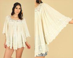 ViNtAgE 70's Cream GAUZE Cotton Sheer Tunic Top Angel Wing Bell Sleeve Boho Hippie Rocker Festival Goddess Gauzy Top Shirt s/m/l/xl