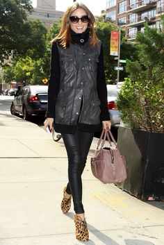 Olivia Palermo love the Cheetah Print Shoes/Mauve Colored Purse to accent her black leather pants--HowTo Wear Leather Pants: Eight Inspiring Celebrity Outfit Ideas
