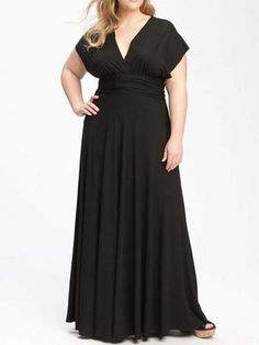 2813bcadbe3cf Black Plus Size Prom Dresses V-neck Chiffon Floor-length Sexy Prom Dress  JKP024