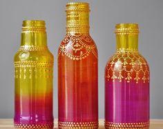 Regalo de Marruecos bohemio Henna Set de floreros mano