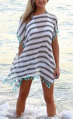 Little Pink Wish Cover Up Blowout - Moda ve Sosyeteye Dair Beach Dresses, Trendy Dresses, Short Dresses, White Poncho, Beach Attire, Beachwear Fashion, Bikini Fashion, Trendy Swimwear, Outfit Trends