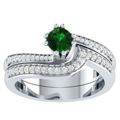 2.15CT Round Green Emerald Tapererd Halo Wedding Ring Set In 14k White Gold Over #RegaaliaJewels