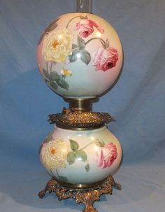 Victorian Pink U0026 Yellow Rose Hand Painted Gone With The Wind Oil Lamp.  Antique Oil LampsVintage ...