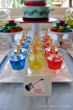 jello cups rock star guitar boy birthday party dessert table ideas www.spaceshipsandlaserbeams.com #boy #party #boypartyideas