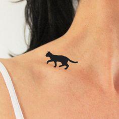 4 tatuajes temporales de gato caminando en mi hombro / tatuaje