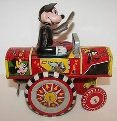 Vintage Line Mar Tin Key Wind Up Mickey Mouse Vehicle   eBay
