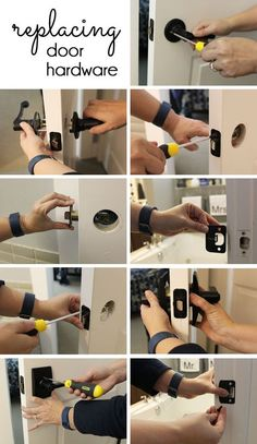 How to easily replace interior door hardware! Like paint, faucets, and lighting,… How to easily replace interior door hardware! Home Renovation, Home Remodeling, Bathroom Remodeling, Replacing Interior Doors, Diy Door Knobs, Paint Door Knobs, Interior Door Knobs, Door Hangers, Diy Home Decor For Apartments