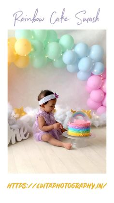 Baby's First Birthday, 1st Birthday Photoshoot, 1st Birthday Party For Girls, 1st Birthday Pictures, 1st Birthday Cake Smash, Girl Birthday Themes, Diy Cake Smash, Cake Smash Girl, Rainbow Smash Cakes