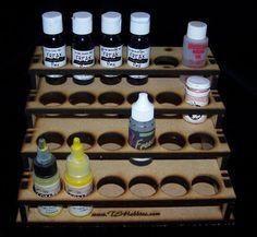TSP Laser cut MDF desk top paint rack 24 bottles craft FolkArt caps down on eBay!