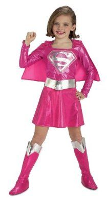 Cute super girl pink costume for kids
