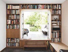 Convert garage door into a patio door. Bookshelves behind the garage door. Convert driveway as a seating area. Interior Exterior, Interior Design Kitchen, Interior Architecture, Interior Decorating, Vintage Bookshelf, Modern Tiny House, Bookshelves, Small Spaces, Furniture Design