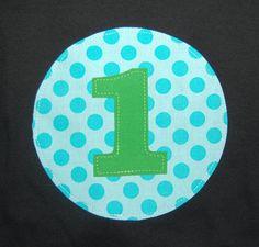 1st Birthday Tee ... Boys Green and Aqua Polka Dot First birthday shirt