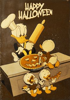 Donald Duck and his nephews making a pumpkin pie for Halloween!