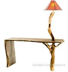 Organic Rustic Sofa Table with Built in Log Lamp