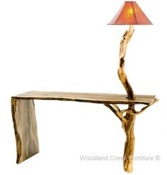 Organic Rustic Sofa Table with Built in Log Lamp by Woodland Creek Furniture.  Available in Custom Sizes.