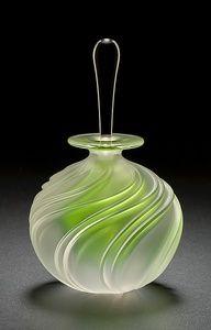 Apple Green Swirl Perfume: Mary Angus: Art Glass Perfume Bottle