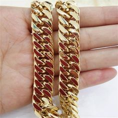 New Charming MEN'S Stainless Steel Yellow Gold Cuban Curb Chain Men's Boy's Necklace&Bracelet Bangle Customized Size Bracelets For Men, Bangle Bracelets, Punk Jewelry, Jewelry Watches, Men's Jewelry, Handmade Jewelry, Mens Chain Necklace, Chain Necklaces, Boys Necklaces