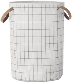 Grid Hand-Printed Laundry Basket
