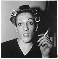A male who liked to dress up as a female, the perfect subject for a Diane Arbus photograph.