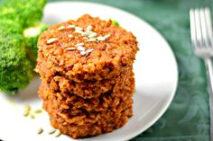 These soft and flavorful Tomato Rice Patties with crispy edges make for a delicious plant-based lunch or dinner. They are clean eating vegan and gluten free Gluten Free Recipes, Vegetarian Recipes, Lunch Recipes, Yummy Recipes, Dinner Recipes, Whole Food Recipes, Cooking Recipes, Tomato Rice, Recipes