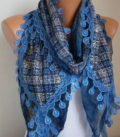 ON SALE  Blue Plaid Scarf Sequin Flowers Scarf   scarf by anils