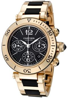 Cartier W301970M Watches,Men's Pasha Seatimer Automatic Chronograph Black Dial 18kt Gold and Black Rubber, Men's Cartier Automatic Watches
