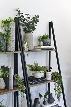Kmart Hack: Industrial Shelf Turned Vertical Garden - Kmart Hack: Industrial Shelf Turned Vertical Garden indoor vertical garden using fake plants on kmart industrial ladder shelf Plant Wall Decor, Indoor Plant Wall, Fake Plants Decor, House Plants Decor, Indoor Plants, Garden Plants, Hanging Plants, Ikea Fake Plants, Bedroom With Plants