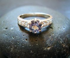 Genuine Tri-Color Tanzanite & White Topaz Ring - Solid Sterling Silver Ring - Alternative Engagement Ring - Unique Wedding Ring - Round Cut