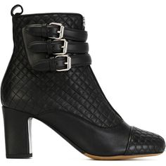 Tabitha Simmons Quilted Buckle Boots (915,620 KRW) ❤ liked on Polyvore featuring shoes, boots, black, leather shoes, leather boots, black shoes, tabitha simmons boots and black boots
