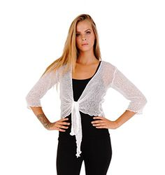 Shu-Shi Womens Knitted Tie Top Sheer Shrug >>> More info could be found at the image url.