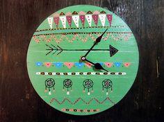 Aztec Wall Clock  Bohemian Wall Clock   Boho Wall от iCatchUrDream