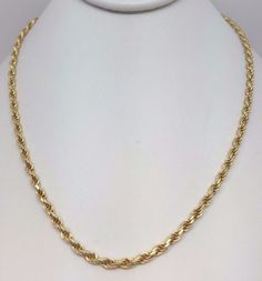 """14K YELLOW GOLD SOLID DIAMOND CUT ROPE CHAIN 19"""" 2.5MM #Chain"""