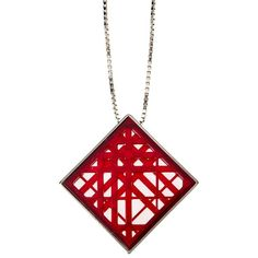 Pre-owned Burberry Red Plastic Pendant ($236) ❤ liked on Polyvore featuring jewelry, pendants, accessories, red, plastic jewelry, polish jewelry, preowned jewelry, square pendant and pendant jewelry