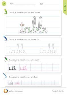 exercice-fiche- graphisme-écriture-cp-ce1-écrire-le-mot-table-minuscule-cursive