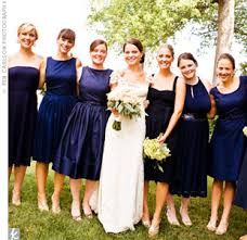 Mismatched bridesmaids dresses in navy. Really love the idea of letting your friends pick their own dresses. Dark Blue Bridesmaid Dresses, Navy Blue Bridesmaids, Wedding Bridesmaids, Wedding Dresses, Wedding Attire, Party Dresses, Blue Dresses, Bridesmaid Inspiration, Wedding Inspiration