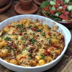 krieltjes ovenschotel met spek, ui en kaas - Familie over de kook