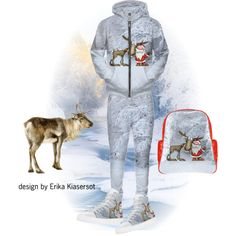 Santa and Reindeer high top sneakers, backpack by on #artsadd http://www.artsadd.com/store/funnypictures Hoodie, joggers by on #rageon https://www.rageon.com/a/users/ErikaKaisersot