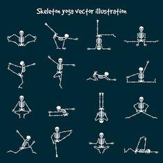 Skeleton yoga vector illustration by vectortatu on Spooky Tattoos, Skeleton Tattoos, Funny Skeleton, Skeleton Art, Hata Yoga, Human Icon, Paint Markers, Tattoos For Women, Tatoos