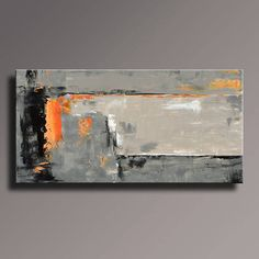 ABSTRACT PAINTING Black Gray Orange Painting Original Canvas