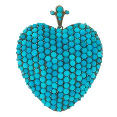 Victorian Pave Persian Turquoise Heart Pendant