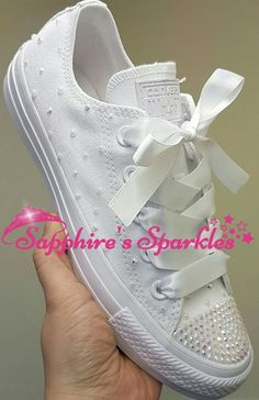 (Adults Mono Converse Sizes 3-9. White Ribbon White Crystals Then White  Pearls 54aa3c3e8