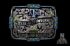 """This Aggie chose a silver logo and yellow gold lettering of their graduation year and major with the black& rose gold scroll background option on the """"Cochise"""" style buckle.   Gig 'em!"""