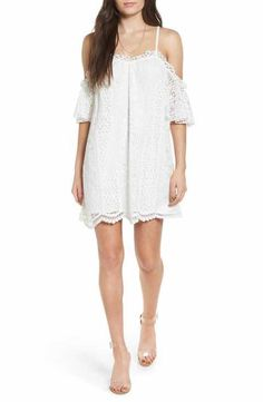 Love, Fire Lace Cold-Shoulder Shift Dress